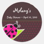Pink and Brown Ladybug Sticker Labels Round Sticker
