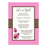 Pink and Brown Ladybug Striped Dots Baby Shower 5x7 Paper Invitation Card