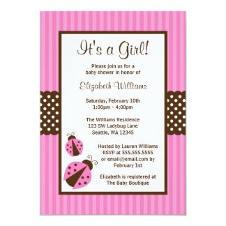 Pink and Brown Ladybug Striped Dots Baby Shower Card