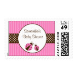Pink and Brown Ladybug Striped Dots Baby Shower Stamp