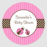 Pink and Brown Ladybug Striped Dots Baby Shower Classic Round Sticker