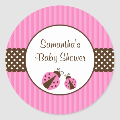 Pink and Brown Ladybug Striped Dots Baby Shower Round Sticker