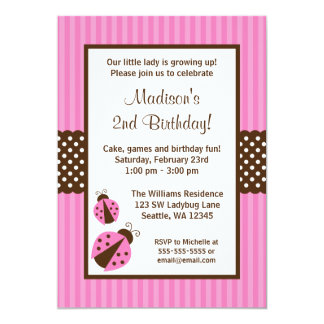 """Pink and Brown Ladybug Striped Dots Birthday Party 5"""" X 7"""" Invitation Card"""