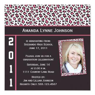 Pink and Brown Leopard Print Graduation Invitation