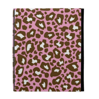Pink and Brown Leopard Spotted Animal Print iPad Folio Case
