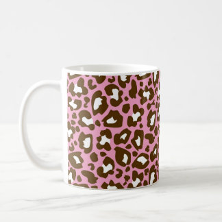 Pink and Brown Leopard Spotted Animal Print Coffee Mug