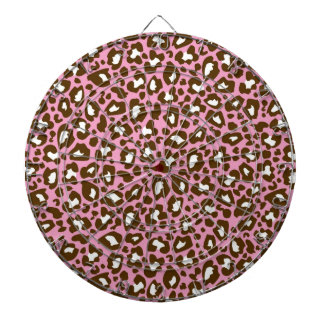 Pink and Brown Leopard Spotted Animal Print Dartboard