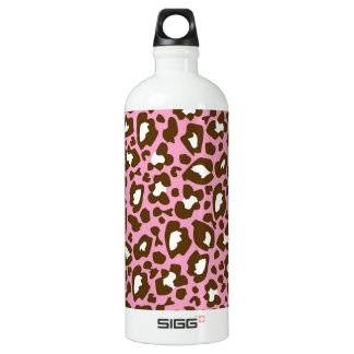 Pink and Brown Leopard Spotted Animal Print Water Bottle