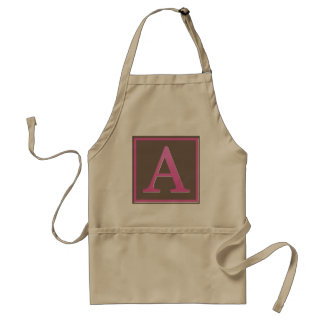 Pink and Brown Letter A Monogram Adult Apron