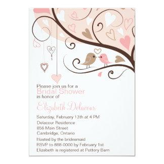"Pink and Brown Love Birds Bridal Shower Invitation 5"" X 7"" Invitation Card"