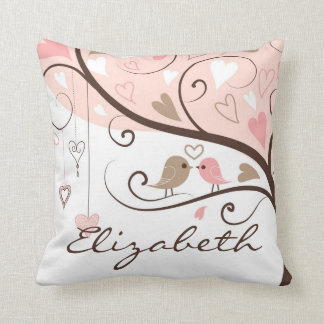 Pink and Brown Lovebirds Personalized Pillow