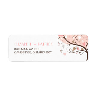 Pink and Brown Lovebirds Wedding Address Label