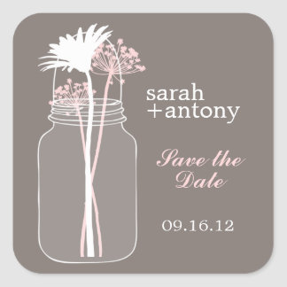 Pink and Brown Mason Jar and Flowers Wedding Square Sticker