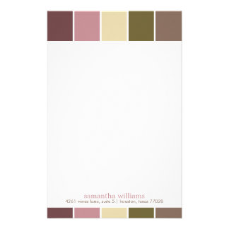 Pink and Brown Modern Decorative Color Blocks Stationery