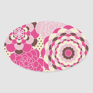 Pink and Brown Modern Flowers Oval Sticker