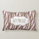 Pink and Brown Monogram Center Pillow