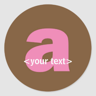 Pink and Brown Monogram - Letter A Classic Round Sticker