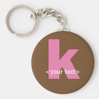 Pink and Brown Monogram - Letter K Keychain