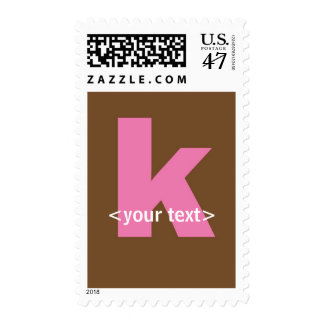 Pink and Brown Monogram - Letter K Postage