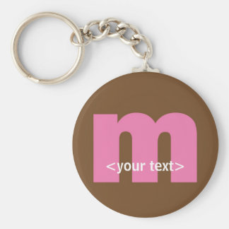 Pink and Brown Monogram - Letter M Keychain