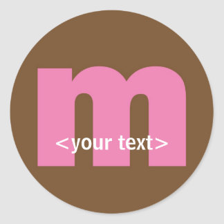 Pink and Brown Monogram - Letter M Classic Round Sticker