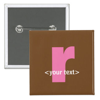 Pink and Brown Monogram - Letter R Pins