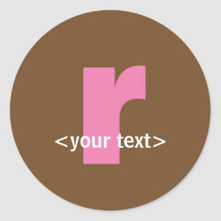 Pink and Brown Monogram - Letter R Classic Round Sticker