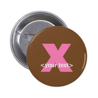 Pink and Brown Monogram - Letter X Pinback Button