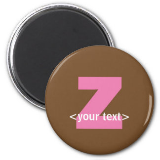 Pink and Brown Monogram - Letter Z 2 Inch Round Magnet