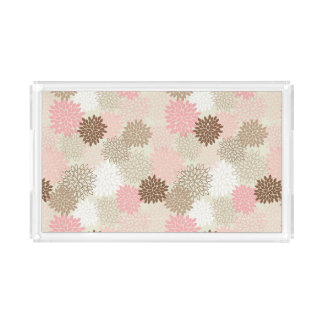 Pink And Brown Mum Pattern Rectangle Serving Trays