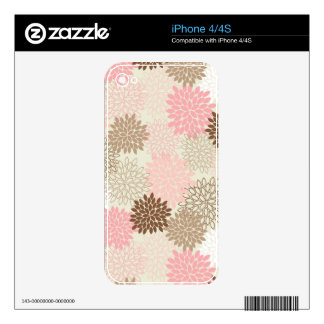 Pink And Brown Mum Pattern Skin For The iPhone 4