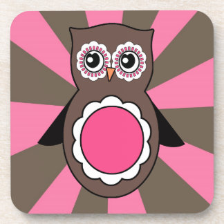 Pink and Brown Owl Cork Coaster