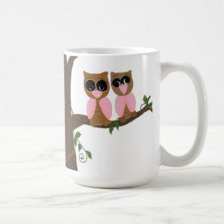 Pink and Brown Owls Out on a Limb Coffee Mug