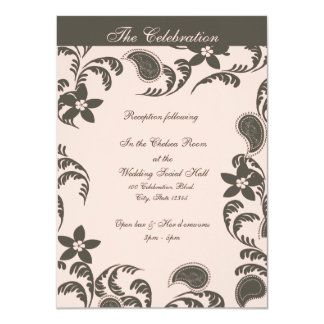 Pink and Brown Paisley Floral 4.5x6.25 Paper Invitation Card