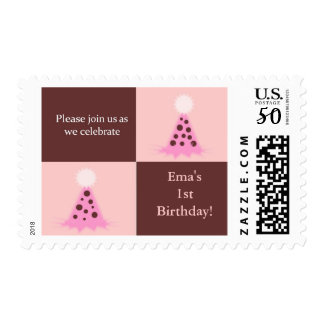 Pink and Brown Party Hat Birthday Party Products Postage