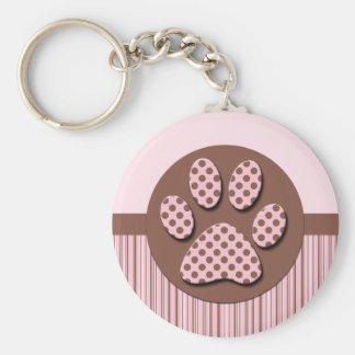 Pink and Brown Paw Print Basic Round Button Keychain
