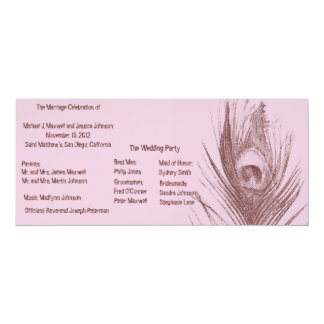 Pink and Brown Peacock Wedding Program 4x9.25 Paper Invitation Card