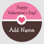 Pink and Brown Personalized Valentine's Sticker