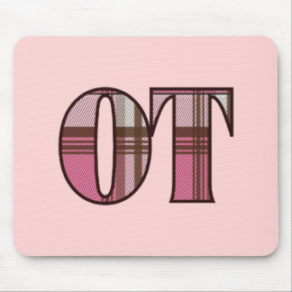 Pink and Brown Plaid Mouse Pad