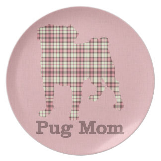 Pink and Brown Plaid Pug Mom Tees and Gifts Melamine Plate
