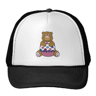 Pink And Brown Polka Dot Bear Trucker Hat