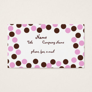 Pink and Brown Polka Dot Business Card