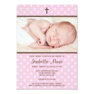 Pink and Brown Polka Dot Cross Girl Photo Baptism 5x7 Paper Invitation Card