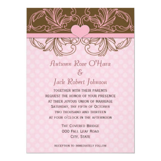 Pink and Brown Polka Dot Floral Wedding 6.5x8.75 Paper Invitation Card