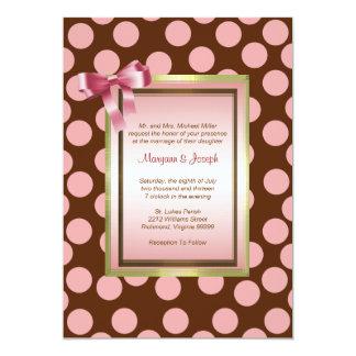Pink and Brown Polka Dot Invitation Template