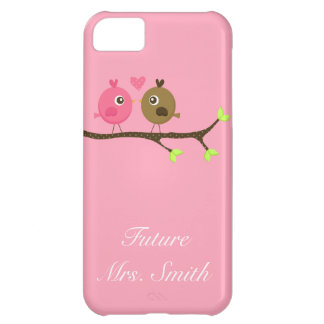 Pink and Brown Polka Dot Love Birds Future Mrs. Case For iPhone 5C