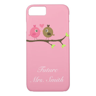 Pink and Brown Polka Dot Love Birds Future Mrs. iPhone 7 Case