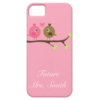 Pink and Brown Polka Dot Love Birds Future Mrs. iPhone SE/5/5s Case