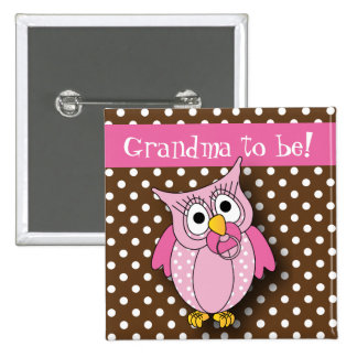 Pink and Brown Polka Dot Owl Baby Shower Theme Pinback Button