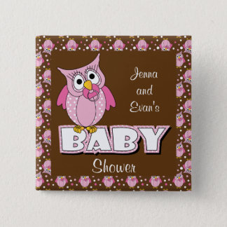 Pink and Brown Polka Dot Owl | Baby Shower Theme Pinback Button